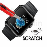 reloj de pantalla negro al por mayor-Cubierta protectora de pantalla de película de vidrio templado premium de pantalla completa 3D para Apple Watch Iwatch 38mm 42mm negro