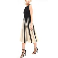 yeni moda net elbiseler toptan satış-Yeni Kadın Net Splice Elbise Kadınlar Yaz Moda O-Boyun Kolsuz Pilili Elbise 731652
