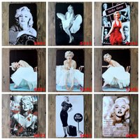 Wholesale Marilyn Monroe Art Prints - Metal Art Tin Posters European And AmericanStars Marilyn Monroe Tin Sign Vintage Printing 20*30cm Iron Paintings New Arrival 3 99ljz B