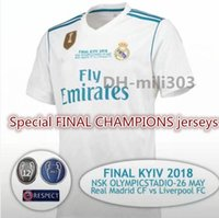 Wholesale thai tops resale online - Top thai quality Champions League Finals Real Madrid home Soccer Jersey Ronaldo MODRIC BALE ASENSIO ISCO Football shirt