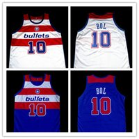 Wholesale bullet custom - #10 MANUTE BOL WASHINGTON BULLETS White Blue Basketball Jersey Men's Embroidery Stitched Custom any Number and name Jerseys