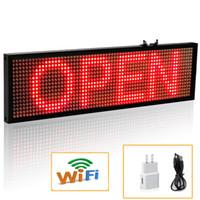 indoor-scrolling-zeichen großhandel-34 cm P5 Smd Red WiFi LED zeichen indoor Storefront Open Zeichen Programmierbare Blättern Display-Industrie Grade Business-Tools