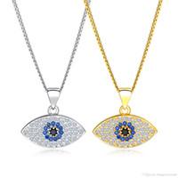 96b595b67dae Oro Plata Azul Collar de Ojo Malvado Para Las Mujeres Buena Suerte Colgante  de Cristal Collares de Cadena Colgantes Joyería de Moda de Las Mujeres  KX676-679
