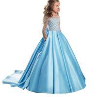 фиолетовые ленты цветок девушка платья оптовых-Светло-синий формальный длина пола цветочница платье девушка одежда Принцесса Brithday с длинным рукавом ребенок бальное платье Детские платья 18FLG47