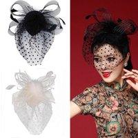 pelo velo de plumas al por mayor-Party Fascinator Veil Decor Hair Accesory Feather Lace Hat con clip para Lady