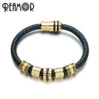компьютер оптовых-REAMOR 2019 Genuine Leather Weave Bracelets Gold Plating Stainless Steel  Bangles Top Quality Handmade Bracelet Men Jewelry