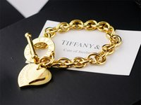 Wholesale green crystal shaped plastic resale online - High Quality Celebrity design Silverware Gold Chain bracelet Women Letter Heart shaped Bracelets Jewelry With dust bag Box