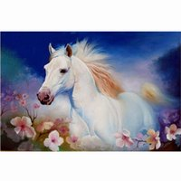 Wholesale horses crafts - Flower-White-Horse Landscape 5D DIY Mosaic Needlework Diamond Painting Embroidery Cross Stitch Craft Kit Wall Home Hanging Decor