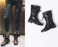 bota larga de encaje al por mayor-Botas hasta la rodilla de invierno Sexy Lace Up Zipper Zapatos casuales largos Moda Botines de tacón bajo Zapatos