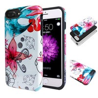 Wholesale Plastic Flowers Design - 2in1 Hybrid Flowers Design Patterns Soft TPU PC IMD Cellphone Case Cover for iPhone 8 7 6s 6 Plus Opp Bag