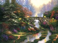 pintura al óleo castillo paisaje al por mayor-Sin marco o enmarcado Thomas Kinkade paisaje pintura al óleo reproducción imagen de alta calidad impresa en la lona moderna Home Art Decor HT180