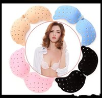Wholesale large silicone bra - exy Women Silicone Invisible Bra Seamless Breathable Push Up Bra Adhesive gather Strapless Lady Brassiere 5 Colors