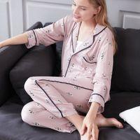 439cbba00e Womens Pajamas Sets Recycled fiber long sleeves Shirts And Pants printed  2018 Pajama Set Sleepwear Women Sexy autumn Homewear