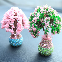 ingrosso belle bambole rosa-Piccoli ornamenti di decorazione di interni di gatti Bellissimo ornamento di fiori di cristalli di fiori rosa per gli accessori di styling automatico