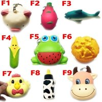 Wholesale Frog Soft Toy - DHL Squishy Toy frog cake Animal chicken dolphin corn squishies Slow Rising 10cm 11cm 12cm 15cm Soft Squeeze Cute gift Stress children toys