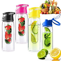 Wholesale infuse bottle resale online - 800 ML Portable fruit Infusing Infuser Water bottle Sports Lemon Juice Bottle Flip Lid for kitchen table Camping travel outdoor