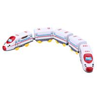 tren eléctrico al por mayor-47.5 * 3 * 4.5 cm Niños Tren de Juguete Eléctrico Harmony Emu Train con 5 Carruajes Jugetes Para Ninos para Niños Chirstmas Regalo