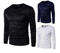 camisas de hombres correas al por mayor-2018 Comercio exterior código europeo tendencia hombres en relieve suéter Correa espacio algodón manga larga camiseta Envío gratis