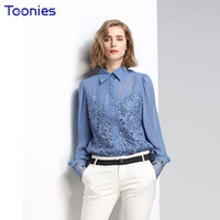 Wholesale Ladies See Through Blouses - Fashion Office Lady Women Blouses Long Sleeved Lace Sexy See-through Female Shirts Women's Tops Brand Chiffon Blusas Spring New