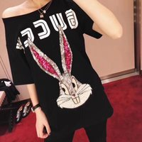 Wholesale Cartoon Tops - 2018 summer new arrival Fashion t-Shirt Men and women Cartoon bugs bunny sequins short sleeves Casual t shirts men tops tees