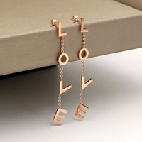 Wholesale hot girls japan - LOVE earrings new Korean fashion LOVE letters mosaic rose gold earrings Japan and South Korea girls hot hot titanium steel earrings
