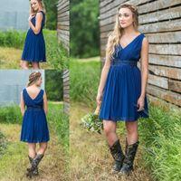 Wholesale sage dresses for teen resale online - Short Country Bridesmaid Dresses Cheap V Neck Ruched Backless Summer Boho Bridesmaids Dresses For Teens Short Dress