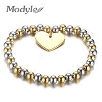 Wholesale steel ball stretching - Modyle Womans Balls Bead Bangle Stainless Steel Love Heart Cross Charms Stretch Bracelet Best Friendship Gift Wedding