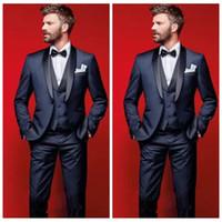 diseñador de esmoquin gris al por mayor-Nuevas llegadas 2019 Top venta elegante azul marino novio esmoquin padrinos de boda chal solapa mejor hombre chaqueta trajes de negocios para hombre (chaqueta + pantalones + chaleco)