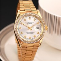 Wholesale cheap price fashion girls model luxury Branded Ladies gold watches diamonds watch calendar White faces clock gift for womens