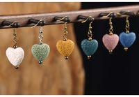 ingrosso rocce a forma di cuore-Rocce vulcaniche colorate a forma di cuore Perle di pietra lavica Collana di gioielli fatti a mano in argento Orecchini Supporto FBA Drop Shipping G642S