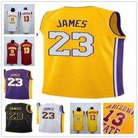 Wholesale 13 basketball jersey - Mens #23 LeBron James Los Angeles Basketball Jerseys 13 James Harden Arizona State Sun Devils White Purple Yellow Red Stitched Shirts S-XXL