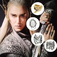 bijoux elfes achat en gros de-ensemble venteHobbit Thranduil Ring quatre 4 anneaux ensemble Mirkwood elf roi anneau LOTR le seigneur des anneaux mode hommes bijoux cadeau de fan