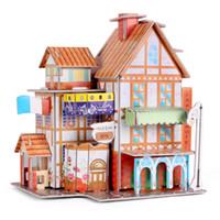 ingrosso modello di mano del fiore-Street 3d Jigsaw Paper Puzzle Hotel Villa Flower Store Jigsaw Sheet 2 Modelli di dimensioni delle mani Baby Toy educativo