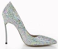 cuchillas de bling al por mayor-Lujo Bling Bling Bombas de punta en punta de cristal Talones de la lámina de plata Vestido de fiesta de las mujeres Zapatos Sexy Slip-on Zapatos de novia de la boda 2018