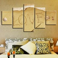 Wholesale mirrored panels for wall for sale - Canvas Home Decor Wall Art Pictures Pieces Love Beach Seascape Paintings Modular HD Printed Poster For Living Room Framework
