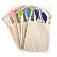 lustige handtaschen großhandel-5 farben lustige design osterhase tasche ohren taschen baumwolle material ostern sackleinen feier geschenke christma tasche 2017 baumwolle handtasche 0708070