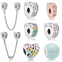 Wholesale glass cube clips - DORAPANG 100% 925 Sterling silver New Heart-Shaped Zircon Colorful Safety Clip Security Chain Bubble Beaded DIY Bracelet Gift Jewelry