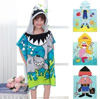 Wholesale bath materials - baby Bath Towel Micro Fiber Material Kid Cartoon Print Hooded Cloak Bathing Swimming Towels Hooded Cloak Beach Towel KKA4336