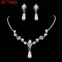 ювелирные ремесла оптовых-JETTING Women Necklace Earrings Jewelry Sets Silver Plated Simulated Pearl Wedding Party Jewelry Sets For Women