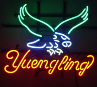 vasos de cerveza yuengling al por mayor-Custom New Yuengling Eagle Real Glass Letrero de neón light Beer Bar Sign 19x15