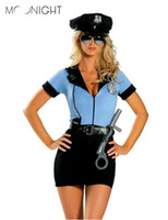 polis kadınları seksi kostüm toptan satış-MOONIGHT Yeni Polis Fantezi Cadılar Bayramı Kostüm Seksi Cop Kıyafet Kadınlar için Kadın Cosplay Seksi Erotik Lingerie Polis 3 parça S19706