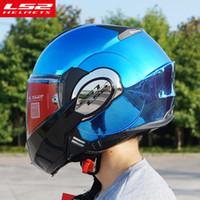 açık kask ls2 toptan satış-Yeni Varış LS2 FF399 yukarı çevirmek motosiklet kaskları krom çift lens motosiklet tek mono convertable modüler kask ile Pinlock