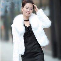 chalecos de piel sintética al por mayor-2016 Top Fashion New Chaleco de piel Moda señora Faux Fur Coat manga invierno mujer abrigo abrigos de la muchacha caliente con cuello de zorro