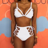 Wholesale vintage swimsuit woman resale online - Women Bikini Set Swimsuit Lady Multi Rope Hollow Out Vintage Top Sexy Swimwear Vintage Bathing Two Piece Suits cs W