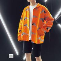 homens estilo jaqueta bomber venda por atacado-2018 Mais novo Moda Masculina Outerwear Estilo Streetwear Impressão Roupas Soltas Casuais Bomber Casacos de Alta Qualidade Casacos M-5XL