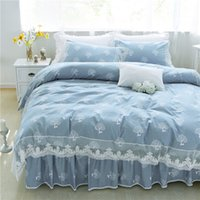 Wholesale lace quilt cover - Luxury blue lace bedding sets 100%coon twin full queen king size quilt cover bed skirt pillowcase Korean princess Home textile