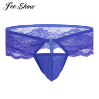 Wholesale Lavender Trimming - Sexy Mens Lingerie Lace Trimming G-strings & Thongs Low-waisted Stretchy Breathable Bikini Underwear Underpants with Bulge Pouch
