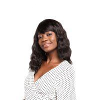 kanekalon peruk patlamaları toptan satış-Siyah Kadınlar İçin Bangs 20inches Kanekalon Isıya Dayanıklı Plaj Doğal Dalga Doğal Siyah Koyu Kahverengi Peruk ile ZXTRESS Sentetik Peruk