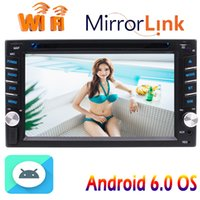 Wholesale hand gps systems - Double Din Car Stereo Andoird 6.0 System Capacitive Touch Screen Quad Core Head Unit car DVD WIFI 4G GPS Navigation Bluetooth Hands-Free
