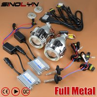 Wholesale projector kit hid for sale - SINOLYN Upgrade Full Metal Pro Leader HID Bi xenon Projector Headlight Lens Kit With Without White Angel Eyes Halo Lenses